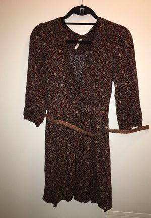 Floral Burgundy Dress with belt