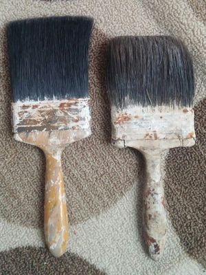 Vintage 4 Inch Wide Horse Hair Paint Brushes/Pair