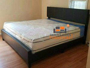 Brand new king size platform bed frame with pillowtop mattress (firm price)