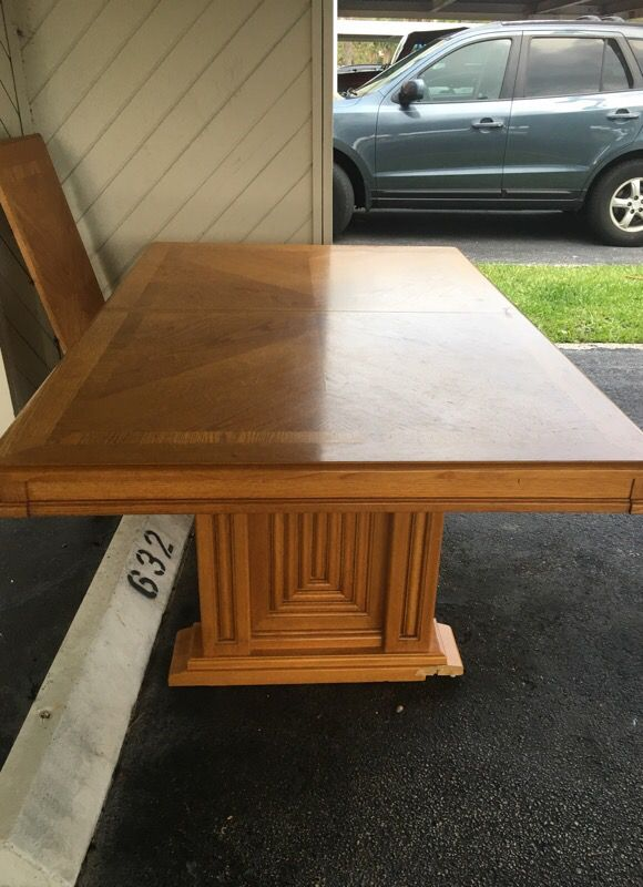 Free wood dining room table and leaf (Furniture) in Boynton Beach, FL