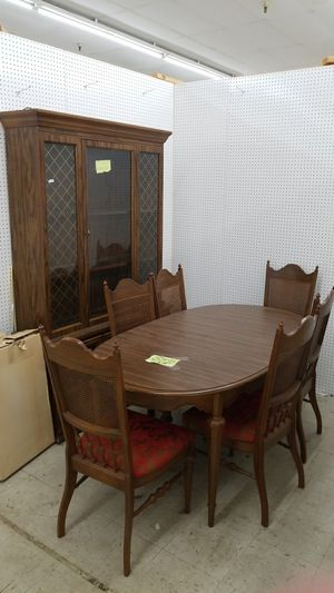 Vintage Table With Chairs China Cabinet Included