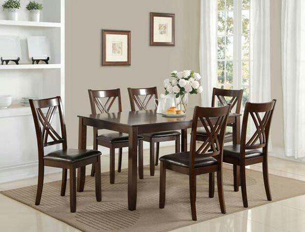 Brand New Dark Cherry Dining Table Six Chairs