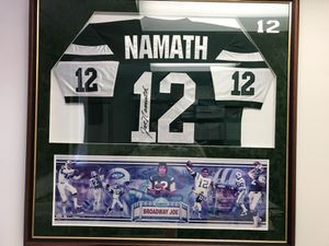 "Autographed & Framed W JSA Certification Joe ""Willie"" Namath, Super Bowl III Champion, The Game That Forced A Merger of the NFL & AFL! A Classic, A"
