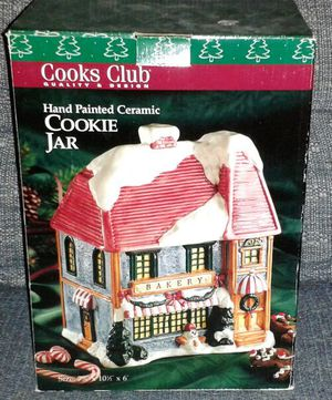 Cook's Club Ceramic Christmas Bakery Cookie Jar