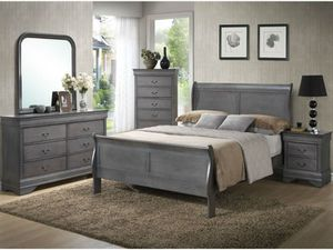 Grey queen sleigh bed frame