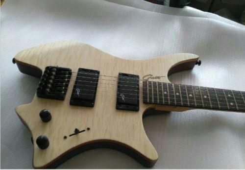 Hot natural electric guitar flame headless unique for Boden os 6 tremolo