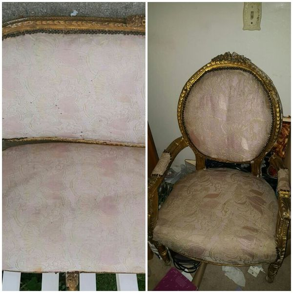 Vintage Antique furniture 1800s pink tapestry gold wood trim settee couch  lounge chair arm chair love