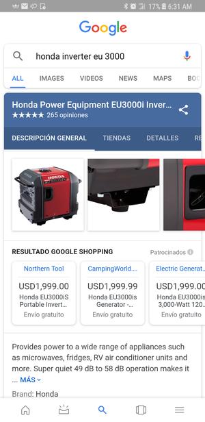 Generador honrada eu 3000 like new