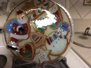 Fused glass Christmas plate by Peggy Karr Glass