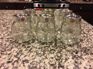 Small glass spice containers (6)