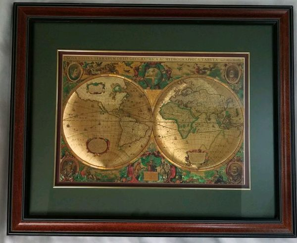 Gold foil double hemisphere old world map 18 x 22 framed antiques gold foil double hemisphere old world map 18 x 22 framed gumiabroncs Gallery