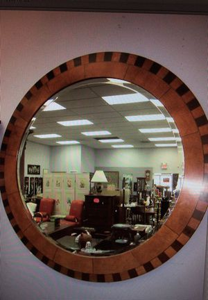 Large round mirror with marquetry frame beveled glass