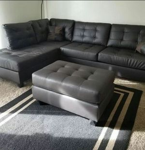 Brand New Espresso Faux Leather Sectional Sofa + Ottoman