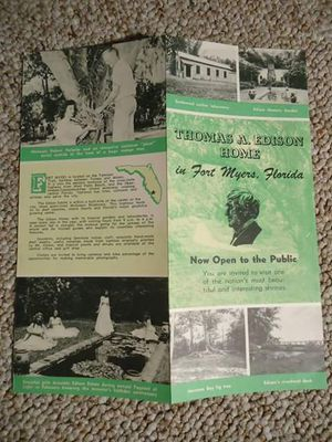 Vintage Thomas Edison Home Brochure Ft Myers Florida