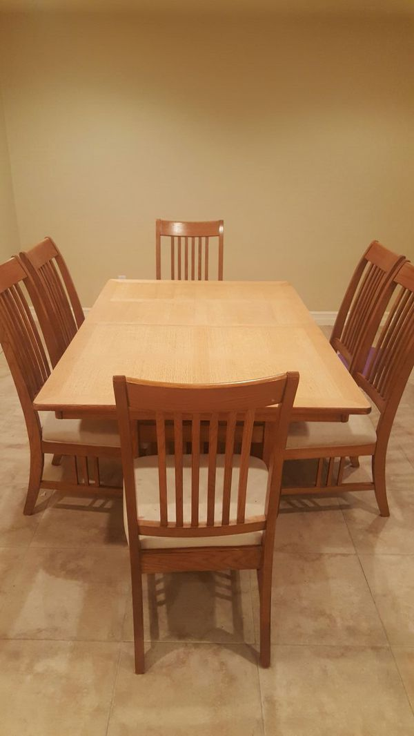 Mission style dining room table w 6 chairs furniture in for Mission style dining table