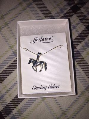 Vintage Jezlaine Sterling Silver Horse Necklace