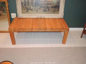 Butcher block coffee table made from F St. Bakery Wood