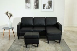 Brand New Black Faux Leather Sectional Sofa + Ottoman