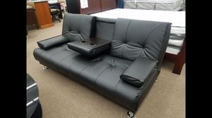 Black color bonded leather sofa bed with armrest and Center beverage holder