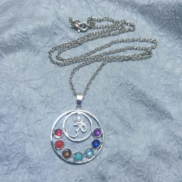 Om Symbol Chakra Rainbow Pendant Necklace Chain Yoga Jewelry