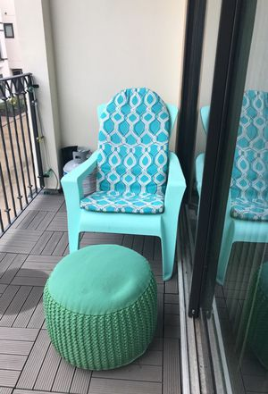 Lawn/deck chairs (2) and foot stool