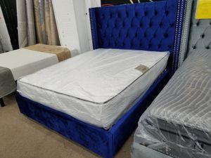 Brand new navy blue velvet material queen size platform bed only