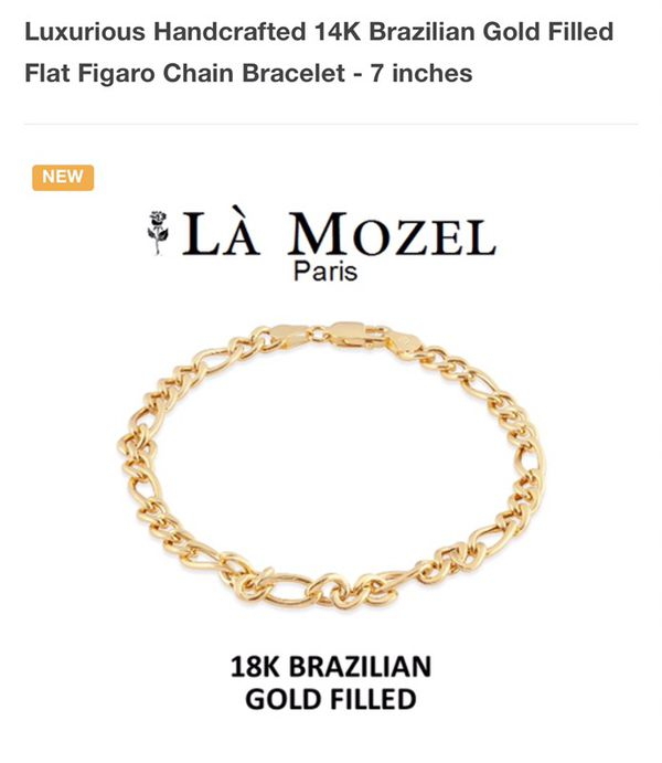 Luxurious Handcrafted 14K Brazilian Gold Filled Flat Figaro Chain
