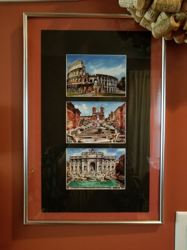 3 Matted & Framed Watercolor Style Prints - Landmarks of Rome, Italy ...