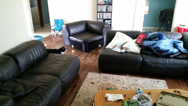 Brown leather sectional with adjustable headrests for Furniture in everett wa