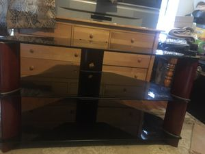 Glass and wood tv stand
