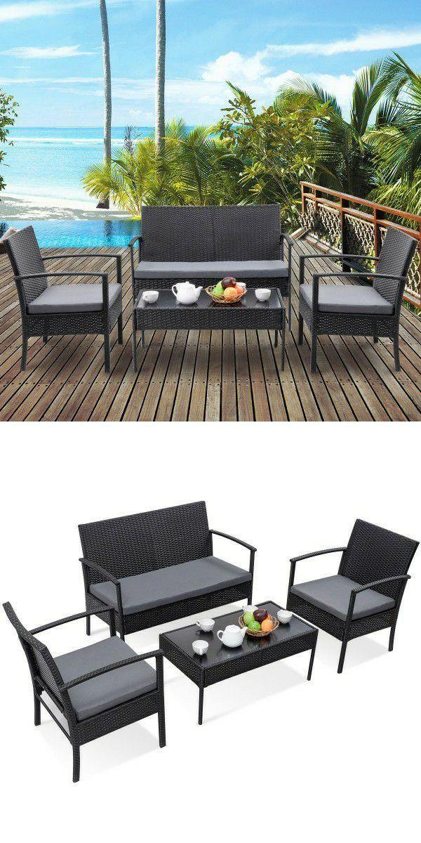 Outdoor Rattan 4 pcs patio outdoor rattan wicker cushion sofa chair furniture