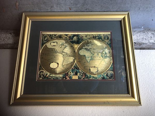 Matted framed double hemisphere gold foil world map arts crafts matted framed double hemisphere gold foil world map arts crafts in aliso viejo ca gumiabroncs Gallery