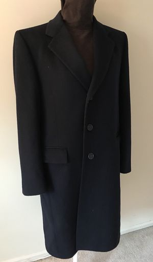 Beautiful Mens Pierre Cardin Winter 100% Wool OverCoat Long Coat Dark Blue Size M
