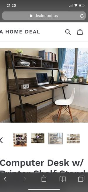 Computer desk with shelves space saving organized home office