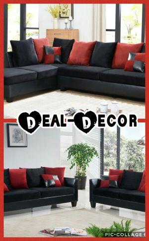 Black/Red Micro Fiber Sofa Set