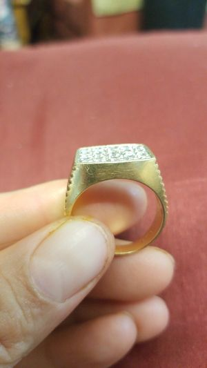 14k gold and daimond mens ring