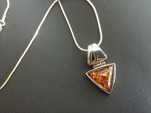 "Sterling Silver triangular cute Amber gemstone pendant with Silver Chain / 18"" inch long silver chain 925 stamped jewelry"