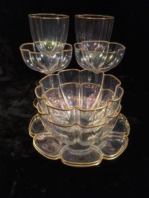8 piece antique iridescent crystal glass ware set