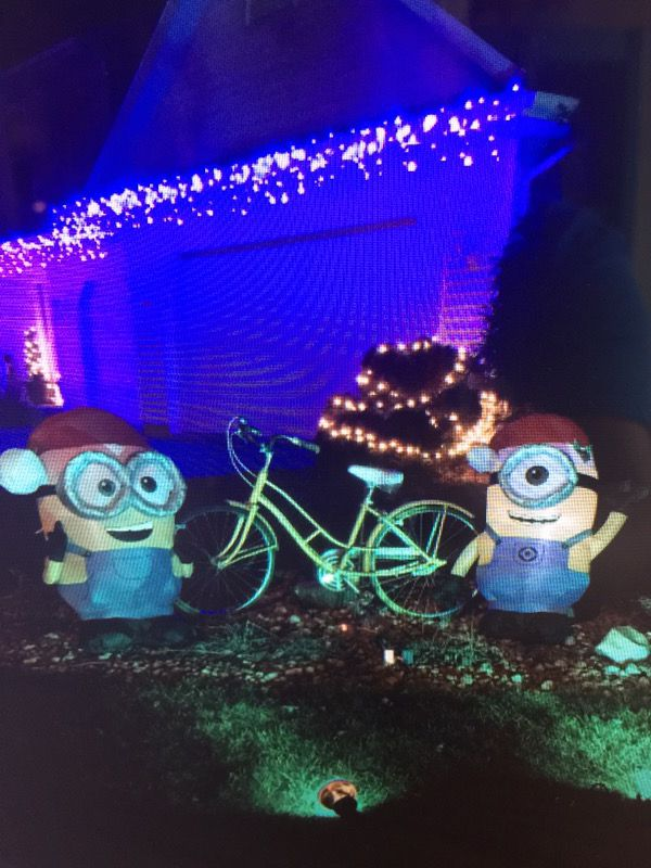 3 holiday minion outdoor blowups - Minions Outdoor Christmas Decorations