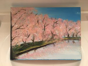 Hand-Painted Cherry Blossom Painting