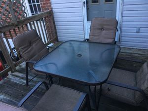 Outdoor table for 4 W/ chair and mattress