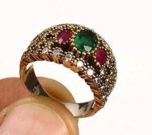 925 Sterling Silver, Turkish Emerald Ruby Topaz, Ring Size 7.5