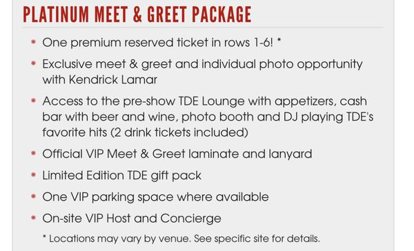 2 tickets to tde the championship tour vip meet and greet package 2 tickets to tde the championship tour vip meet and greet package meet kendrick lamar tickets in san clemente ca m4hsunfo Gallery