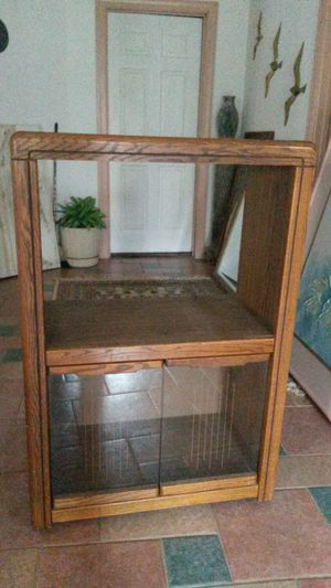 Solid oak TV stand with glass cabinet