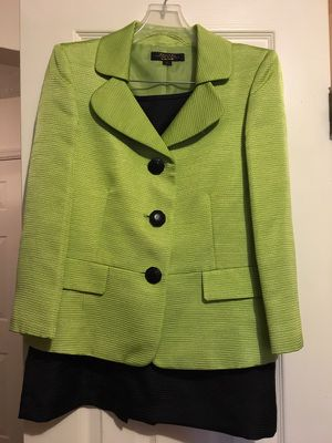 Lime green jacket and black skirt. Size 8?