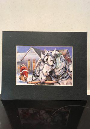 Black Matte Christmas Print Draft Horses