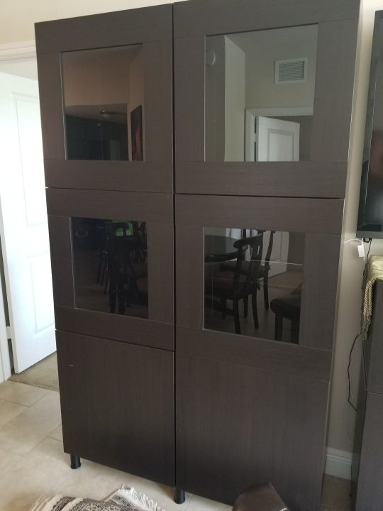 Ikea wall unit with glass doors and shelves (Furniture) in Boca ...