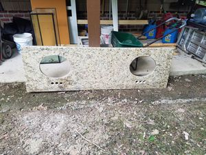 6 ft granite vanity top with 2 white under mount sinks