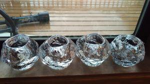 "4 Kosta Boda Snowball Votive Clear Crystal Tea Light Candle Holder 3"""