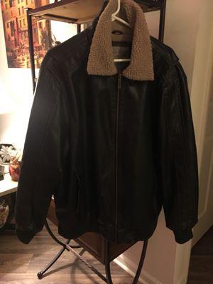 Leather bomber coat , size (L) Brave Soul